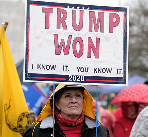 "Woman holding ""Trump Won"" sign"